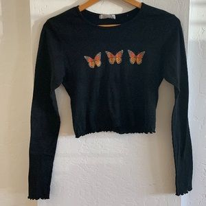 Urban Outfitters Black. Butterfly Crop Top Size S